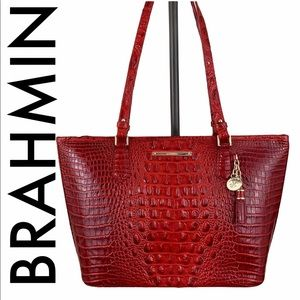 BRAHMIN NWT RED LEATHER SHOULDER TOTE BAG